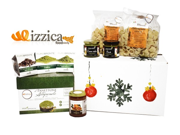 Cesto Natalizio Mizzica Food Sicily DOP ,  BIO e IGP 100% Prodotti Made in Italy